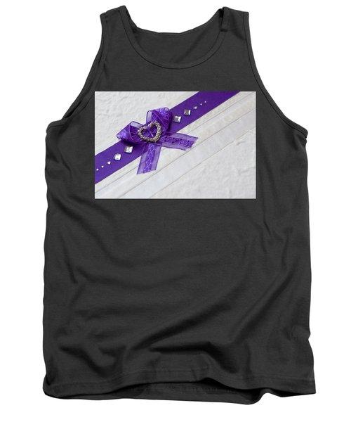 Purple Ribbon Heart Tank Top