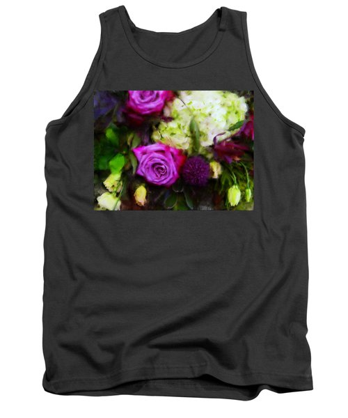 Purple Roses With Hydrangea Tank Top
