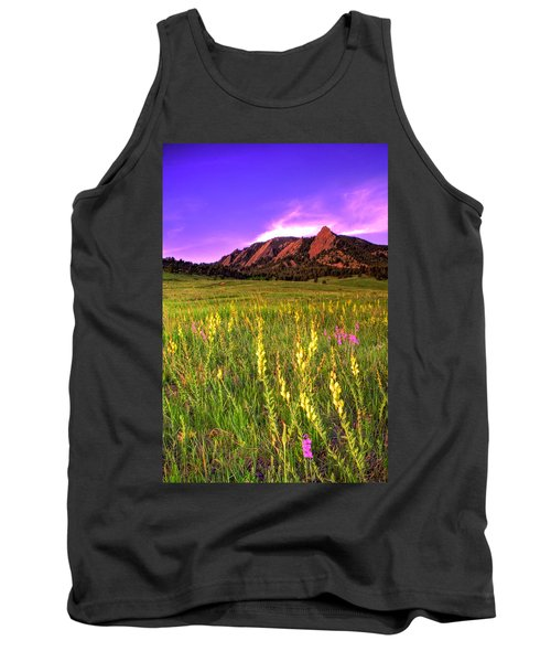 Purple Skies And Wildflowers Tank Top by Scott Mahon