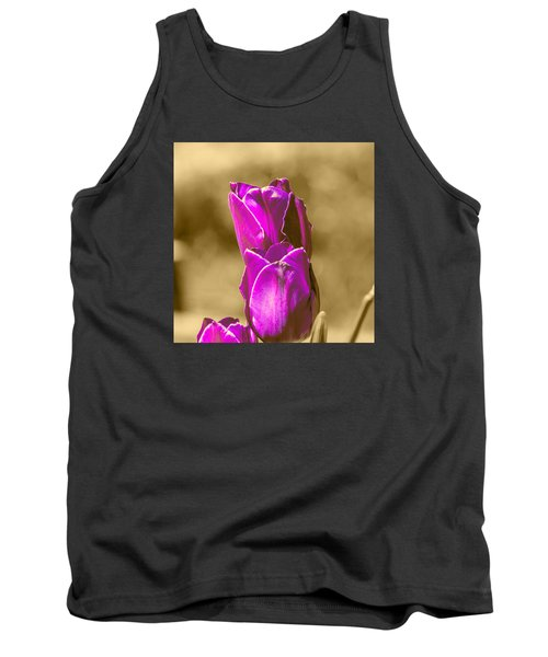 Purple Tulips Sepia Background Tank Top