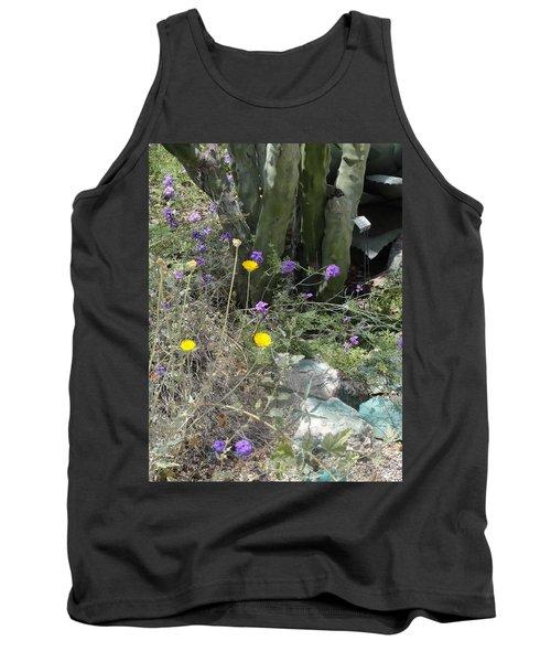 Purple Yellow Flowers Green Cactus Tank Top
