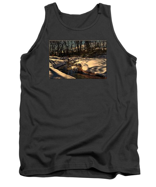 Quiet Brook On A Snowcovered Landscape Tank Top by Mikki Cucuzzo