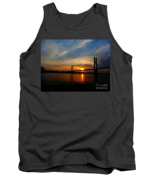 Quincy Bay View Bridge Sunset Tank Top by Justin Moore