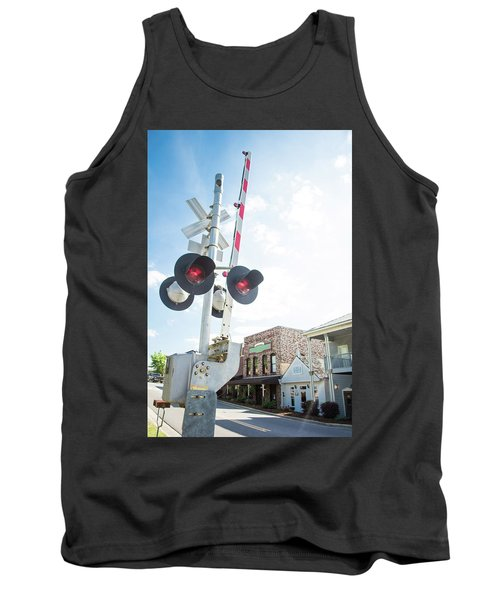Tank Top featuring the photograph Railroad Lights In Old Town Helena by Parker Cunningham