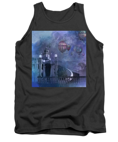Tank Top featuring the digital art Rain And Balloons At Hearst Castle by Jeff Burgess