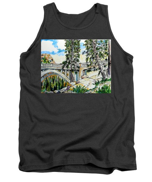 Tank Top featuring the painting Rainbow Bridge At Donner Summit by Terry Banderas