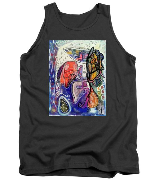 Tank Top featuring the painting Rainbowtrout by Mimulux patricia no No