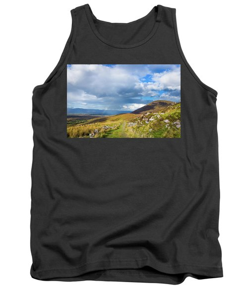Tank Top featuring the photograph Raining Down And Sunshine With Rainbow On The Countryside In Ire by Semmick Photo