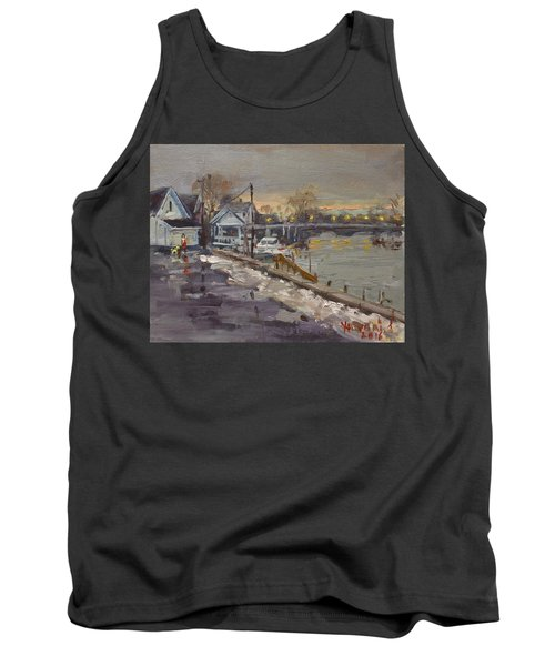 Rainy And Snowy Evening By Niagara River Tank Top