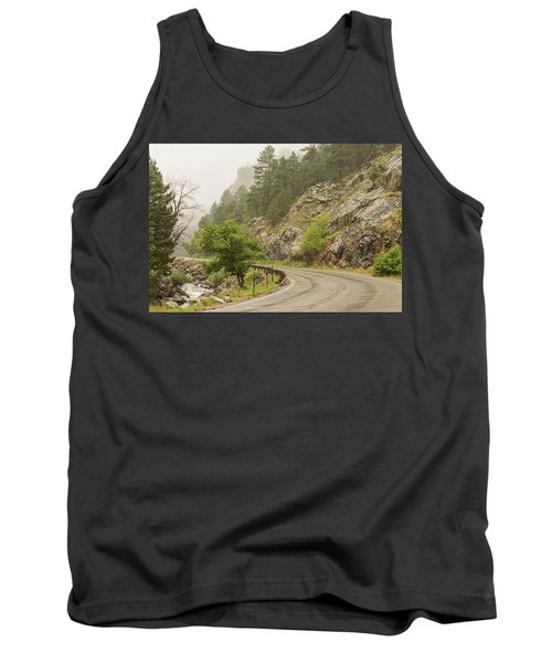Tank Top featuring the photograph Rainy Misty Boulder Creek And Boulder Canyon Drive by James BO Insogna