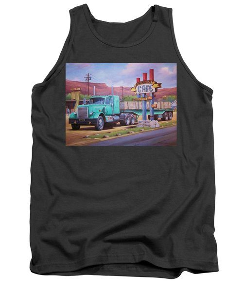 Tank Top featuring the painting Ranch House Truckstop. by Mike Jeffries