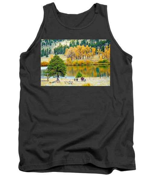 Ranch Pond In Autumn Tank Top