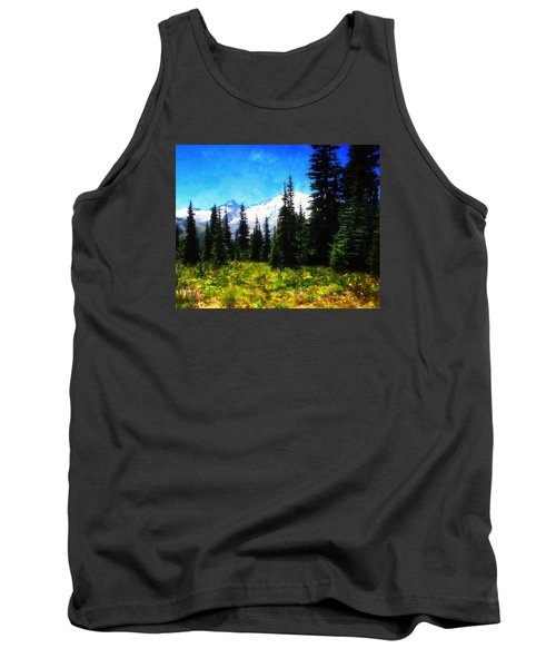 Tank Top featuring the photograph Ranier Mountain Meadow by Timothy Bulone