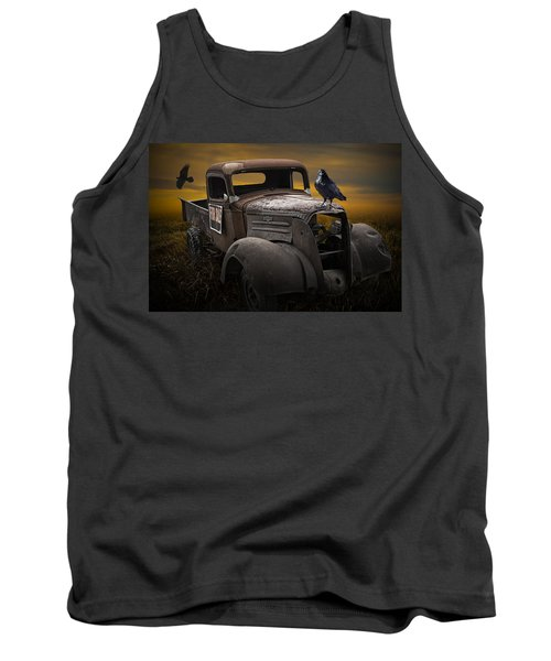 Raven Hood Ornament On Old Vintage Chevy Pickup Truck Tank Top
