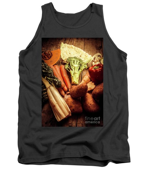 Raw Vegetables On Wooden Background Tank Top