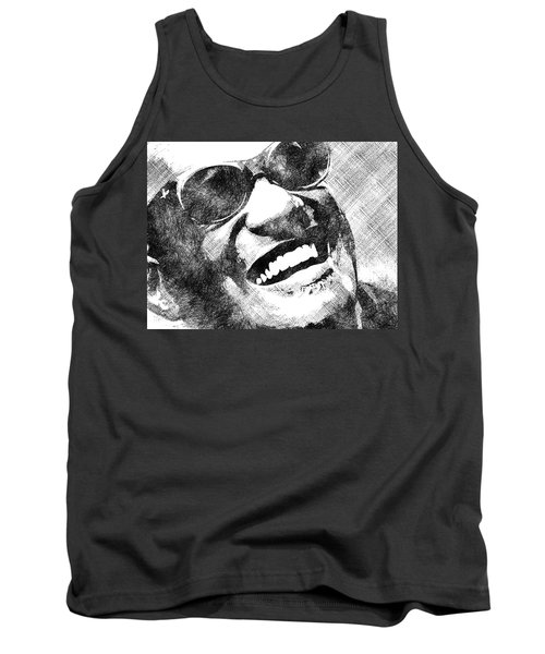 Ray Charles Bw Portrait Tank Top by Mihaela Pater