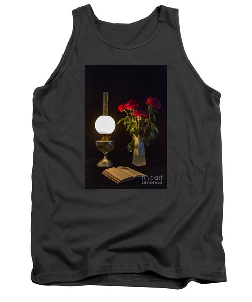Tank Top featuring the photograph Reading By Oil Lamp by Brian Roscorla