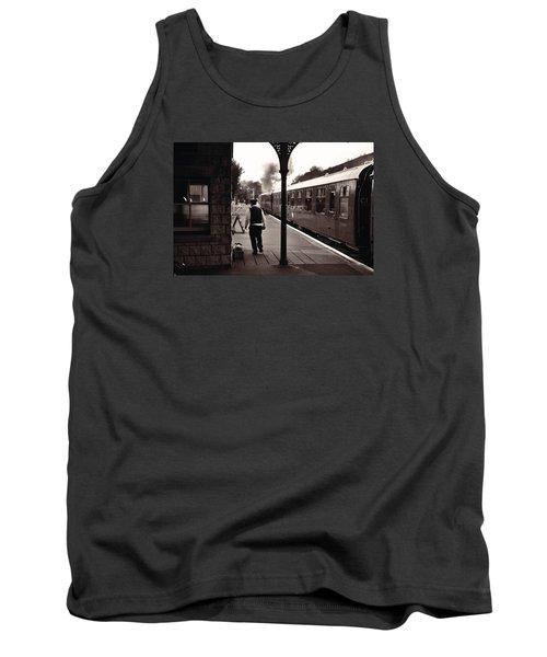 Tank Top featuring the photograph Ready To Depart Corfe Castle Station by Nop Briex