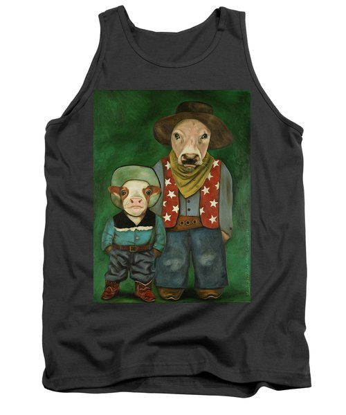 Tank Top featuring the painting Real Cowboys 3 by Leah Saulnier The Painting Maniac