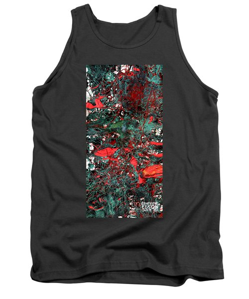 Tank Top featuring the painting Red And Black Turquoise Drip Abstract by Genevieve Esson