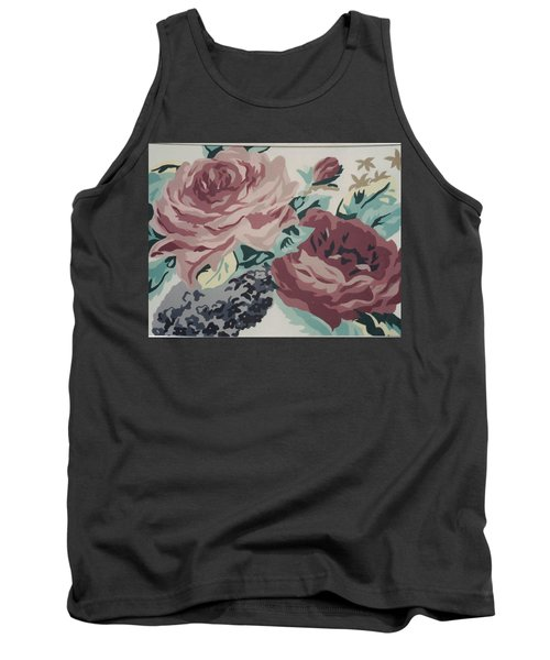 Red And Pink Flowers Tank Top