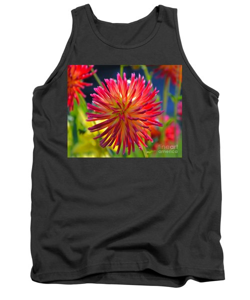Red And Yellow Dahlia Tank Top