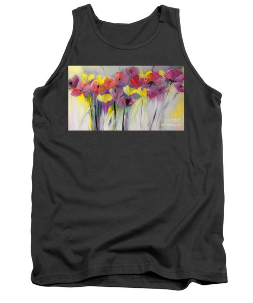 Red And Yellow Floral Field Painting Tank Top by Lisa Kaiser