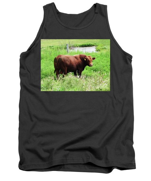 Tank Top featuring the photograph Red Angus Bull by J L Zarek