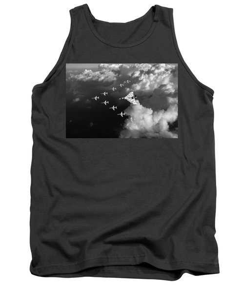 Red Arrows And Vulcan Above Clouds Black And White Tank Top