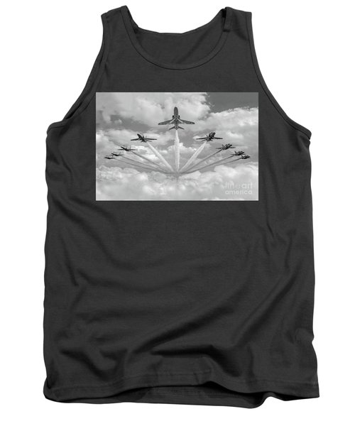 Tank Top featuring the photograph Red Arrows Smoke On Bw Version by Gary Eason