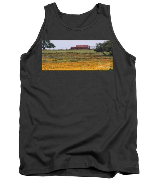 Red Barn In Wildflowers Tank Top by Toma Caul