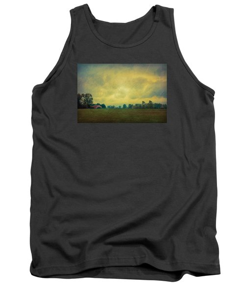 Red Barn Under Stormy Skies Tank Top