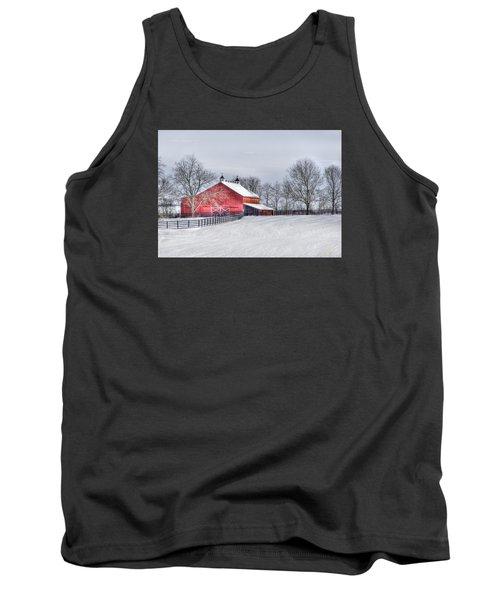 Red Barn Winter Tank Top