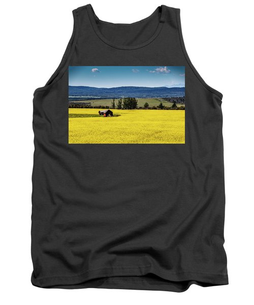 Red Barns In A Sea Of Canola Tank Top