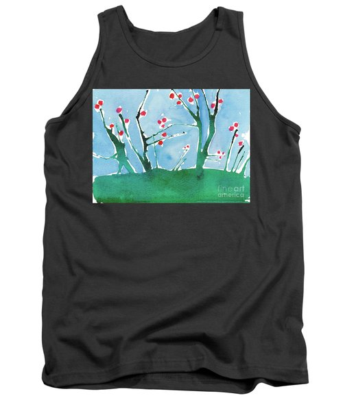 Red Berry Flowers Tank Top