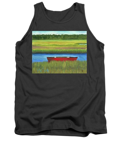 Tank Top featuring the painting Red Boat - Assateague Channel by Arlene Crafton