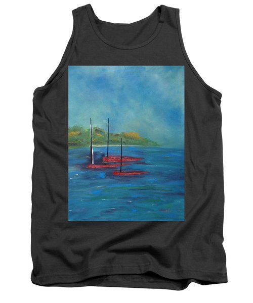 Tank Top featuring the painting Red Boats by Judith Rhue