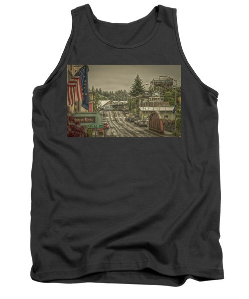 Tank Top featuring the photograph Red Bridge Haze by Timothy Latta