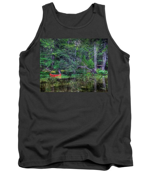 Tank Top featuring the photograph Red Canoe Among The Reeds by David Patterson