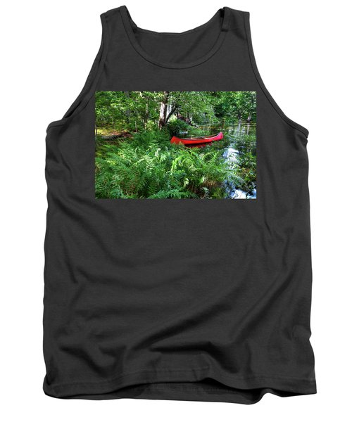 Red Canoe In The Adk Tank Top by David Patterson