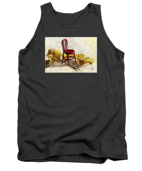 Red Chair And Yellow Leaves Tank Top