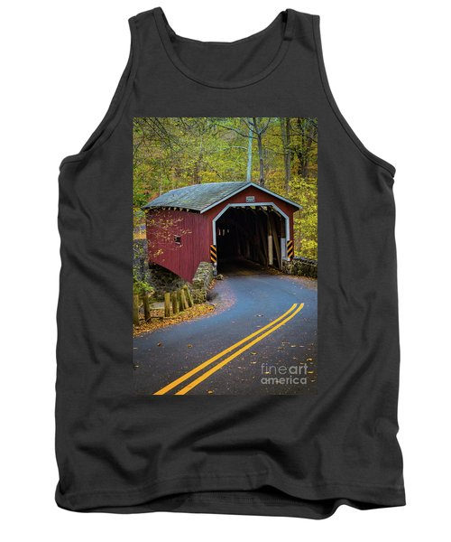Red Covered Bridge In Lancaster County Park Tank Top