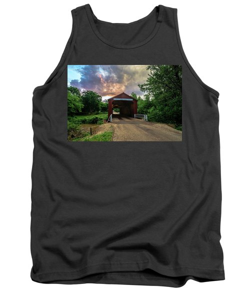 Red Covers Bridge With Pretty Sky  Tank Top