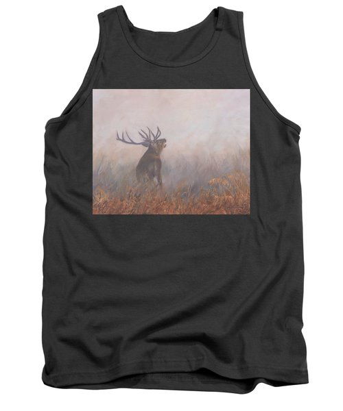 Tank Top featuring the painting Red Deer Stag Early Morning by David Stribbling