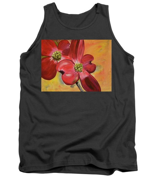 Red Dogwood - Canvas Wine Art Tank Top