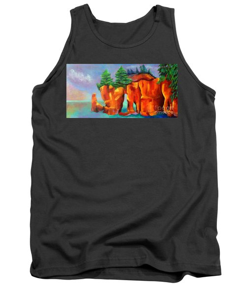 Tank Top featuring the painting Red Fjord by Elizabeth Fontaine-Barr