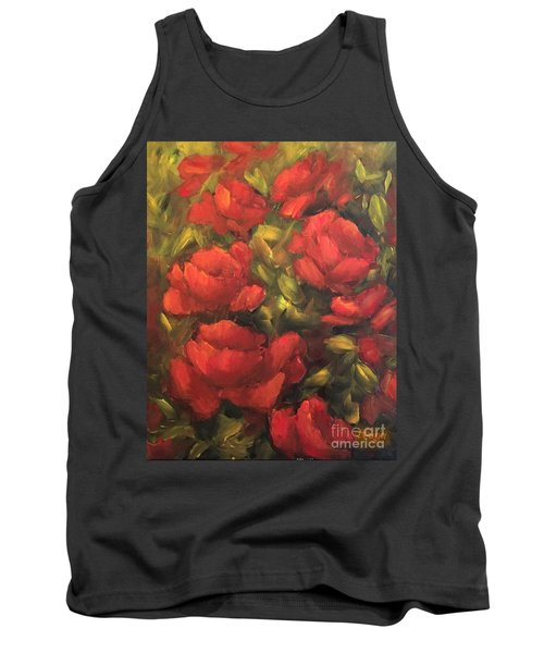 Red Flowers Tank Top by Inese Poga