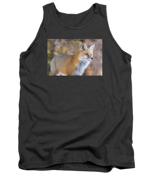 Tank Top featuring the photograph Red Fox In Winter Glow by Yeates Photography