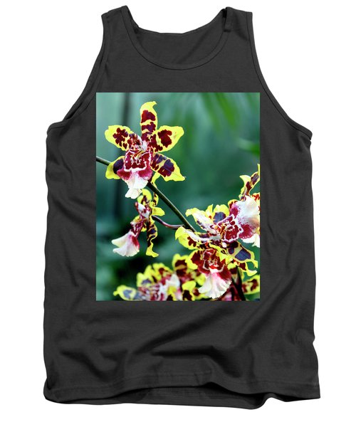 Striped Maroon And Yellow Orchid Tank Top