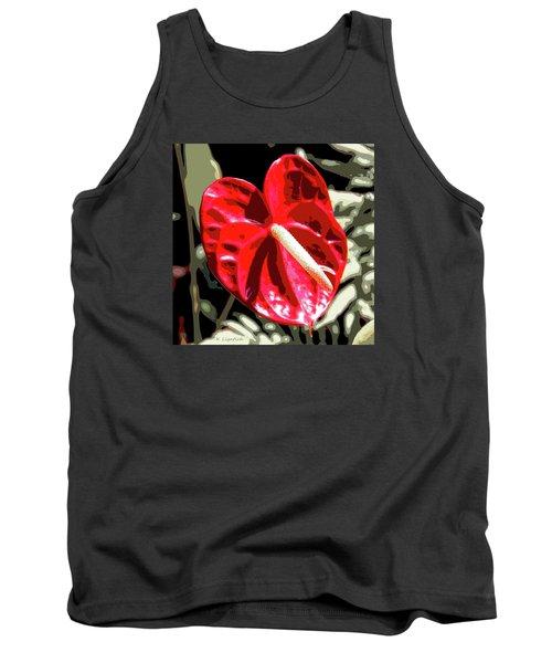Tank Top featuring the digital art Red Heart by Kerri Ligatich
